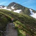 Hiking toward the hut near Aiguille du Tour.- Aiguille du Tour, East Face