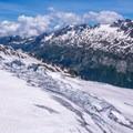 Looking toward Chamonix valley.- Aiguille du Tour, East Face