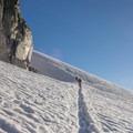 Heading toward the base of the climb from Col du Tour.- Aiguille du Tour, East Face