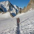 Nearing the base of the climb.- Aiguille du Tour, East Face