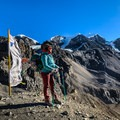 Vertical prayer flags line the trail on the way to Thorong La Pass, giving weary trekkers a dose of good fortune.- Annapurna Circuit