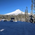 From the trailhead, looking back at the parking lot and Mount Hood.- Bennett Pass Sno Park