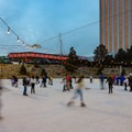 The outdoor rink is located adjacent to the hotel swimming pool with views of the mountains to the west.- Ice Rink at the Grand Sierra Resort