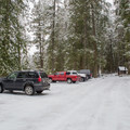 The parking area for day use at Round Lake State Park.- Stewardship Trail