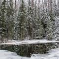 Round Lake in the winter.- Stewardship Trail
