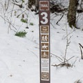 Gold Hill Trail #3 sign in the parking area.- Gold Hill Trail #3