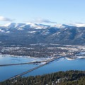 View of the long bridge and Sandpoint from Gold Hill. - Gold Hill Trail #3