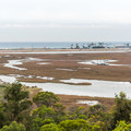 View of San Elijo Lagoon and the Pacific Ocean from Annie's Canyon Trail.- Annie's Canyon Trail via North Rios Trail