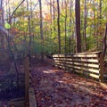 The trail features bridges, which the autumn engulfs in fallen leaves.- Old Atlanta Park Nature Trail