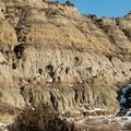Canyon walls before the trail climbs out onto plains. Caprock Coulee Trail.- Caprock Coulee Trail