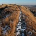 Narrow sections of the trail drop off steeply on both sides. Caprock Coulee Trail.- Caprock Coulee Trail
