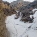 Crossing through multiple creek drainages, frozen during this time of year.- Bennett-Cottonwood Loop via Maah Daah Hey Trail