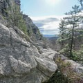 The view east across the Hudson Valley from about halfway up the crag.- Bonticou Crag and Table Rocks