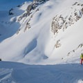 Hopping down from Motel 66. Don't be afraid to drop in on your skis and go a bit lower.- Joffre Peak via the Aussie Couloir
