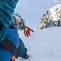 The incline is consistent, just a bit steeper than 45 degrees in the narrower section.- Joffre Peak via the Aussie Couloir