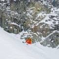 "Skiing through the ""constriction,"" which is fairly wide by couloir standards.- Joffre Peak via the Aussie Couloir"