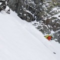 The snow was definitely best in the middle of the couloir.- Joffre Peak via the Aussie Couloir