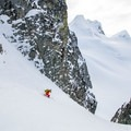Coming toward the end of the couloir on Joffre Peak.- Joffre Peak via the Aussie Couloir