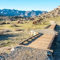 The Culp Valley Trail passes over a dry wash.- Culp Valley Loop