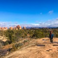The Chesler Park Loop starts off ascending wide, sandstone slabs.- Chesler Park Loop