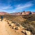 After passing Indian Garden Campground, the trail flattens out and follows an exposed desert plateau for almost 2 miles.- Plateau Point via Bright Angel Trailhead