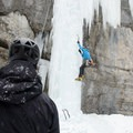 Top rope laps with the belayer a ways away from the falling ice.- Bear Spirit Ice Crag