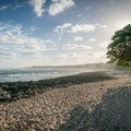 The hike starts along the more crowded section of beach in front of the Turtle Bay Resort.- Kahuku Shoreline