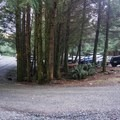 A large U-shaped pull-thru parking area.- Sombrio Beach