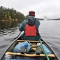 The canoe loaded up and ready to go.- Little Tupper Lake Canoe Camp