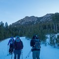 The route begins by hiking up a road.- Twin Sisters Peak
