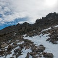 At treeline, the final push to the upper saddle.- Twin Sisters Peak