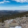 Looking down to the plains, 6,000 feet below the summit.- Twin Sisters Peak