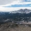 Longs Peak and the peaks south of it.- Twin Sisters Peak