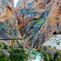 Red rocks, lush greenery, and bright clean water make for incredible sights and photo ops.- Caminito del Rey