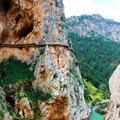 One of the highest suspended sections of boardwalks along the trail, just over 100 meters in the air.- Caminito del Rey