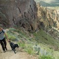 Daphne leading the way up Misery Ridge Trail at Smith Rock in Oregon. - Dog Etiquette on the Trail