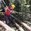 Karen getting the hang of the Pulaski.- The Bold Betties: Idaho Trails Association Women's-Only Trail Maintenance