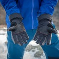 The Rab Storm gloves use a leather palm with nylon fingers and back.- Gear Review: Rab Storm Gloves
