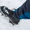 The pant legs have reinforced patches to protect against crampon spikes.- Gear Review: Rab Spire Pants