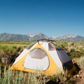 Camping on BLM land by some not-so-secret hot springs near Mammoth, California. Photo by Julie Kukral.- Your Guide to Last-Minute Camping