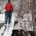 The trail immediately crosses Mahogany Creek.- Cross-country Skiing the Mahogany Ridge Trail with the Casio Pro Trek