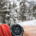 Checking the compass against the Monument Peak landmark.- Cross-country Skiing the Mahogany Ridge Trail with the Casio Pro Trek