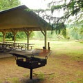 Picnic shelter.- Oxbow Regional Park Campground