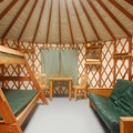 Typical yurt interior (sleeps 5).- South Beach State Park Campground