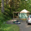 "Typical yurt in the ""A"" loop.- Beverly Beach State Park Campground"