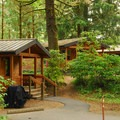 Cabins at Fort Stevens State Park Campground.- Fort Stevens State Park Campground