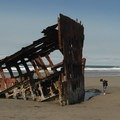 The shipwrecked Peter Iredale west of the campground.- Fort Stevens State Park Campground