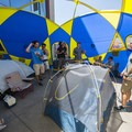 Sierra Designs with their mega tent and tent set-up competition at the 2018 Outdoor Project Denver Block Party.- 2018 Outdoor Project Denver Block Party Recap