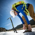 Tightening up the shoes before beginning the ascent.- Gear Review: C.A.M.P. Alpina Ice Axe