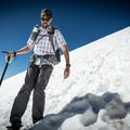 Sliding down a steep section at Saint Mary's Glacier. The clip is affixed to my backpack strap around shoulder height (my preferred carry method).- Gear Review: Peak Designs Capture Camera Clip
